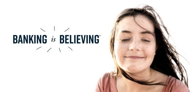 Banking is Believing logo with girl with freckles