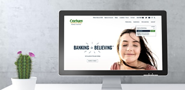Computer with Gorham Savings Bank Website on screen