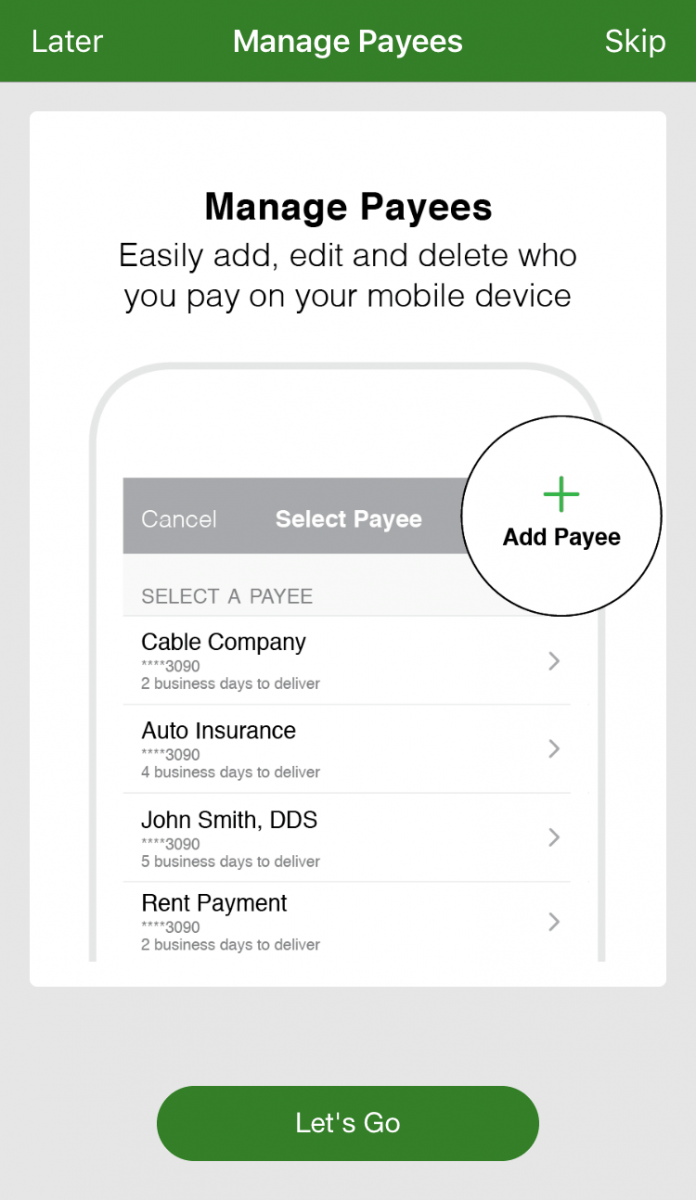 Mobile Bill Pay Screen