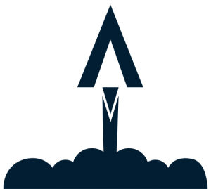 Blue rocket launching icon