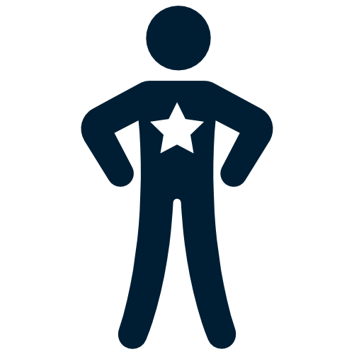 Blue cartoon person with a star imprinted on their chest. Customer Owned icon