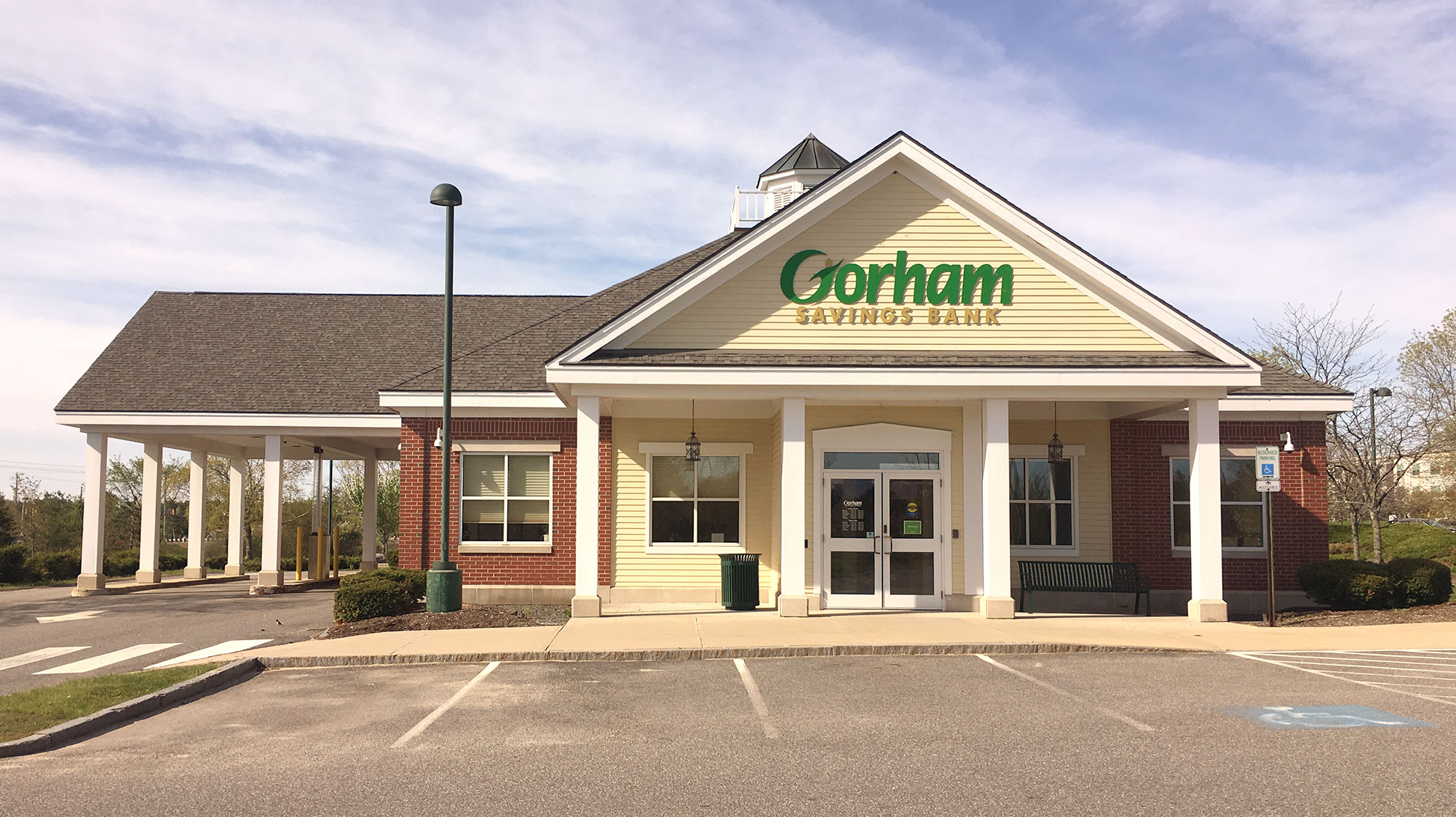 Gorham Savings Bank Falmouth Gray Road outside of building during the day