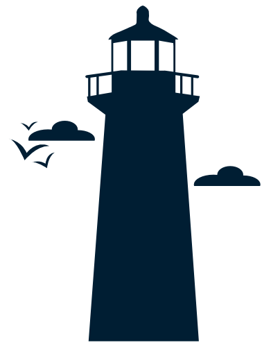 Blue lighthouse local decisions icon