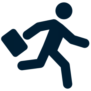 Man with suitcase running icon