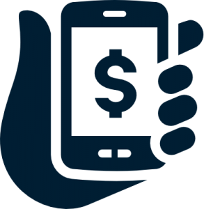 Blue hand holding phone icon