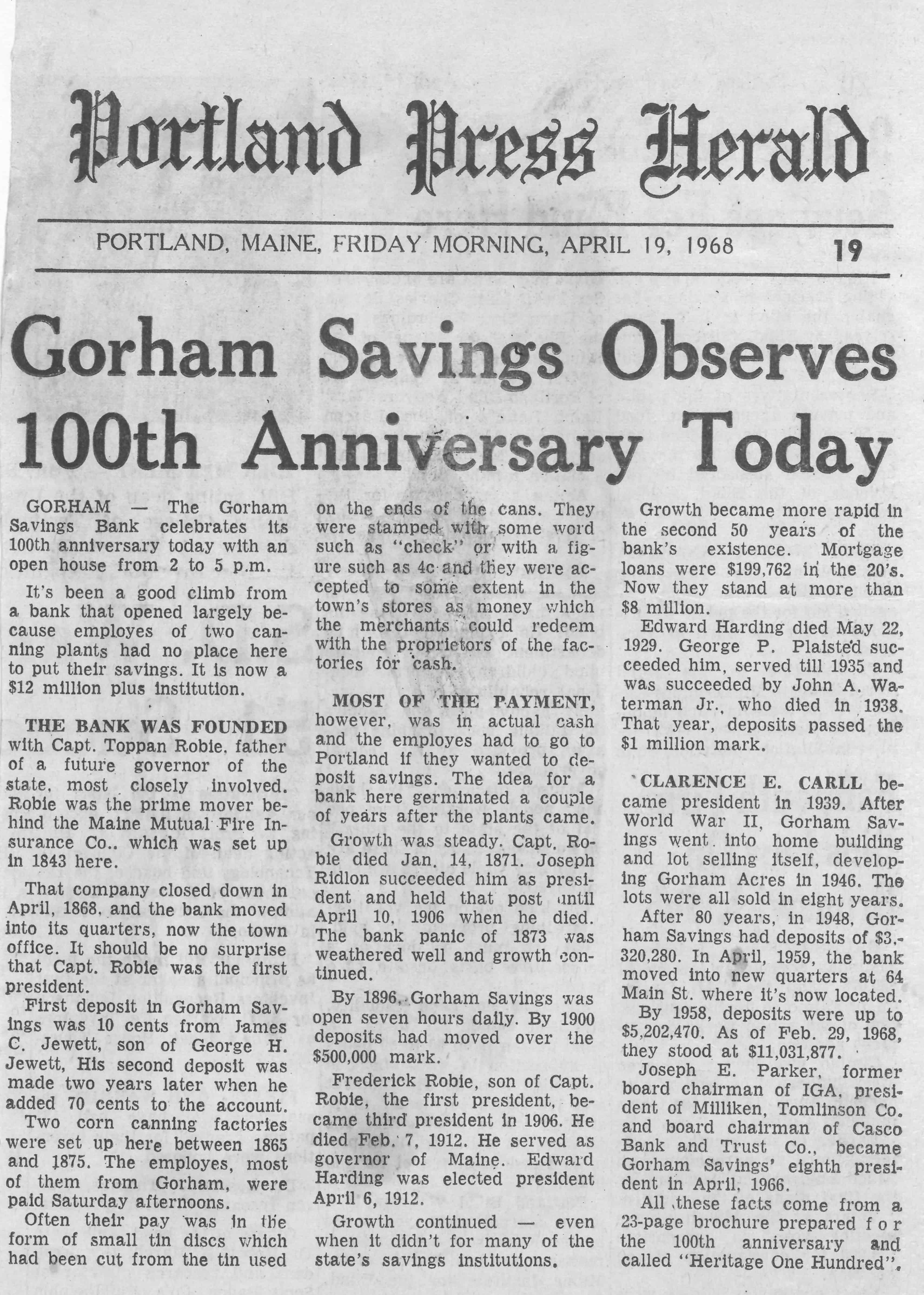 Gorham Savings Bank Celebrates 100 year anniversary