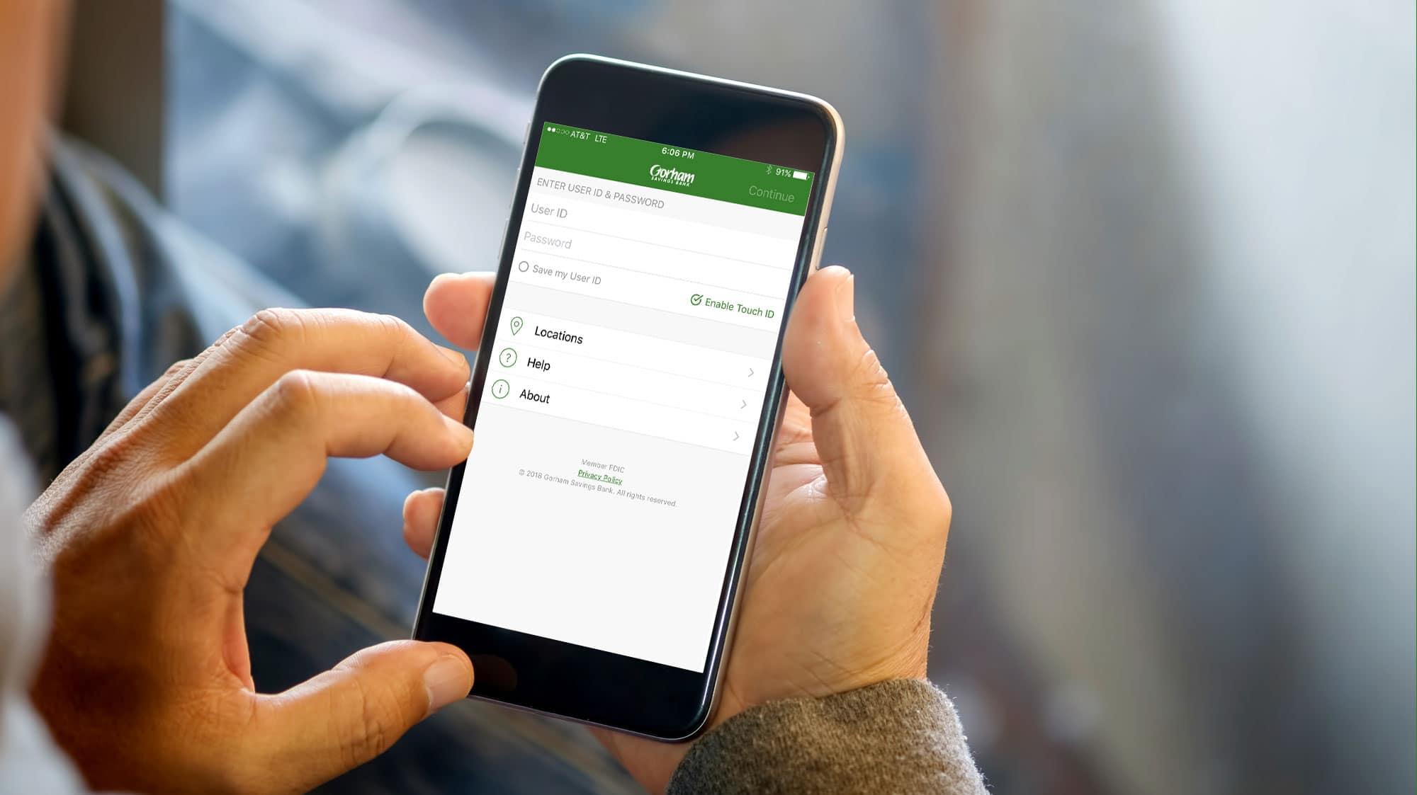 Gorham Savings Bank Mobile App on an iPhone