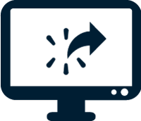 Icon of computer monitor with switching arrow