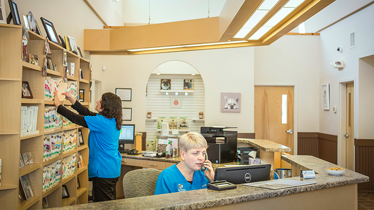 Veterinary Hospital with staff answering phones and filing paperwork