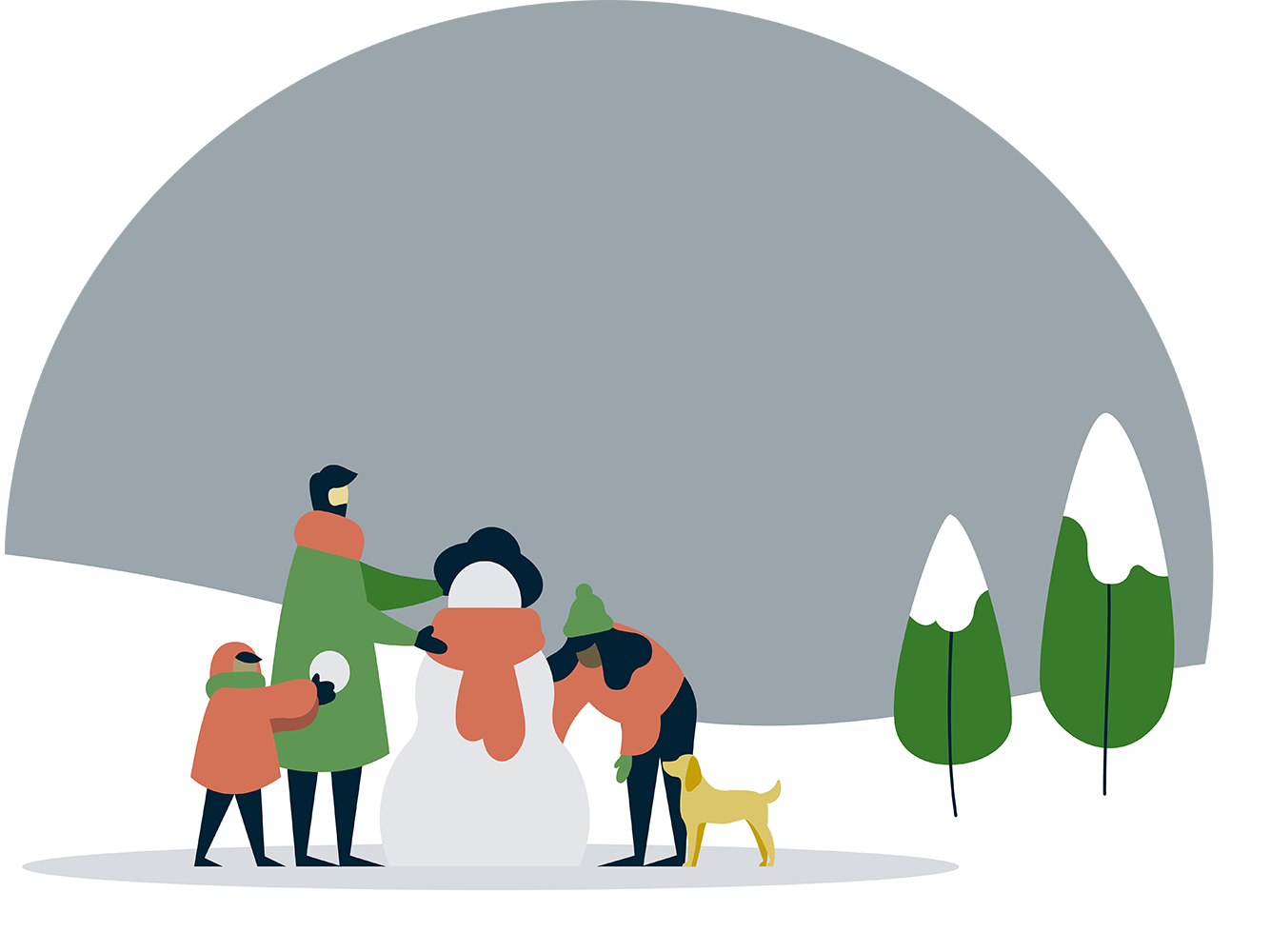 Illustration of people playing in snow