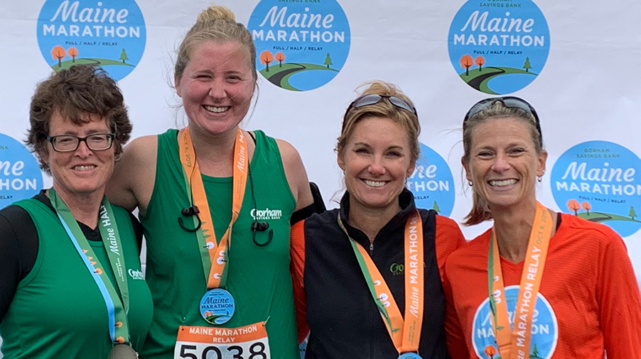 Photo of GSB employees who ran the 2019 Maine Marathon
