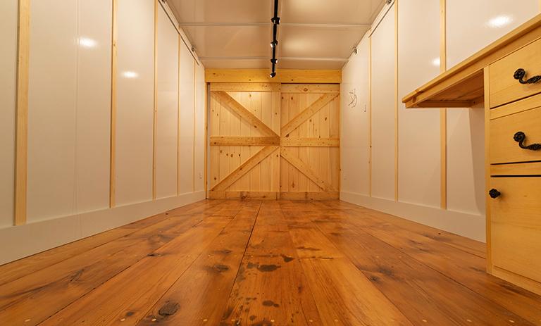 OpBox wood floors barn door