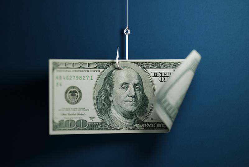 Photo of money on fish hook