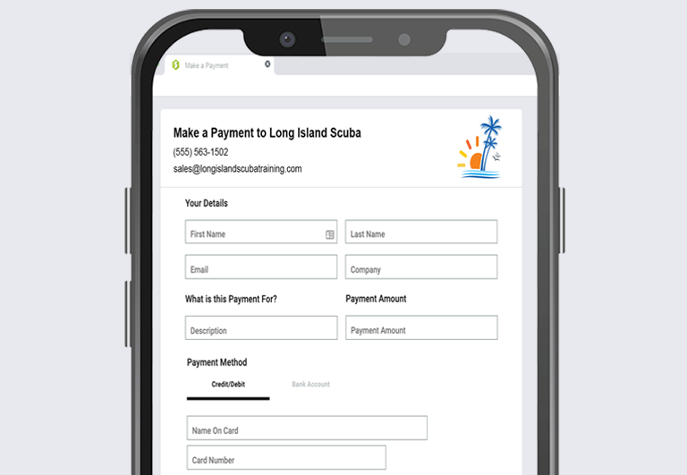 Autobooks Payment Form on Mobile Device