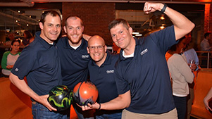 Photo of GSB team at annual Strikes for Scholars bowling event