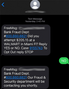 Example scam text message