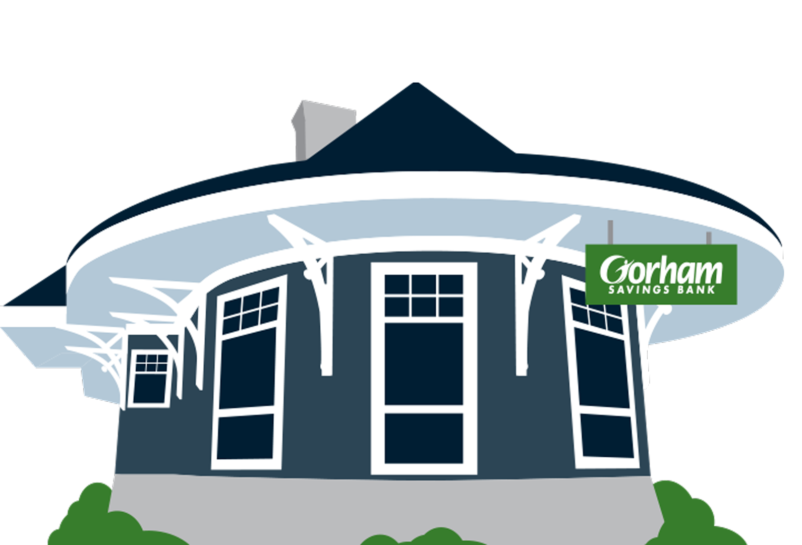 Graphic representation of Yarmouth train station, home of future GSB branch in Yarmouth, Maine